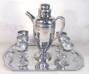 CONTINENTAL ART DECO CHROME 8 PIECE COCKTAIL SHAKER SET 1930s SHARP