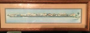 GEORGE ROSU *  MONTEREY WHARF ORIGINAL COLOR LITHOGRAPH* SIGNED* FRAMED MATTED $45.00