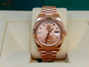 Rolex Day-Date II 218235 Champagne 8 Round 2 Baguette Diamond Dial