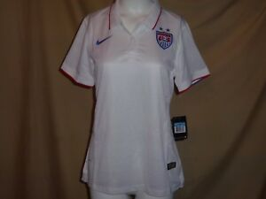 TEAM USA Soccer NIKE Dri-Fit  POLO SHIRT  Womens Medium size 8-10  NWT  white