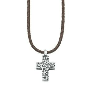 S.Oliver Jewel Men's Necklace Leather Stainless Steel Cross so9111 - 440721 NEW