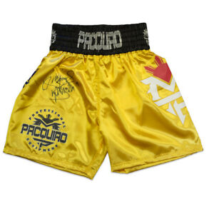 Manny Pacquiao Signed Boxing Shorts - Gold Autograph