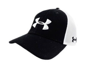NEW Under Armour Golf Spacer Mesh BlackWhite Mens Fitted LXL HatCap