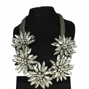 WHITE GOLD OVER FLOWER DROP STATEMENT NECKLACE
