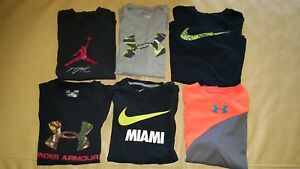 Lot of 7 Boys Youth NIKE UNDER ARMOUR AIR JORDAN T-Shirts Large L DRY FIT COTTON