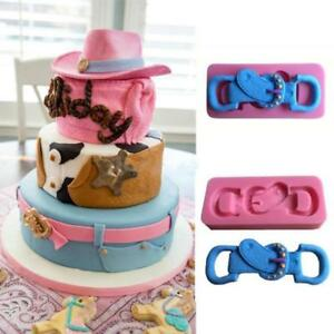 Cowboy Style Belt Buckle Fondant Mold Chocolate Candy Cake Silicone Mould Q