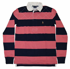 Polo Ralph Lauren Sport Womens Quilted Rugby Shirt Sweatshirt Pink Navy Large