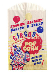 1950s RINGLING BROTHERS BARNUM BAILEY CIRCUS POP CORN BAG NOS $3.00