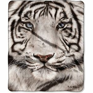Stunning White Tiger Blanket Throw Very Thick Very Soft NEW 50 x 60 inches