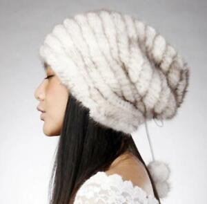 100% Real Knitted Mink Fur Hat with Fur Pom pom Womens Winter Hats Cap
