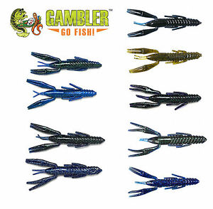 GAMBLER LURES 4 INCH CRAWDADDY BASS FISHING BAIT 10 COUNT VARIOUS COLORS U PICK