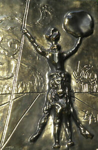 Salvador Dali Don Quixote gold patina bas relief metal wall plaque $5395.00