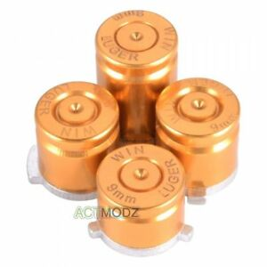 Durable Metal Alloy Bullet ABXY Buttons for Microsoft Xbox One Controller Gold