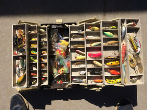 VINTAGE lures tacklebox hundreds of pieces hooks lures tools pork rind
