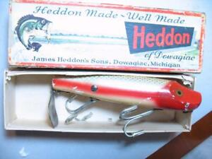 Heddon Musky Flaptail old wood fishing lure in box 7040 PAS
