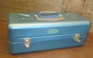 Old Pal Fishing Tackle Bait Box Blue Metal Chest Tool Trunk Art Supplies Vintage