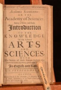 1687 Academia Scientiarum Or The Academy of Sciences David Abercrombie First Ed