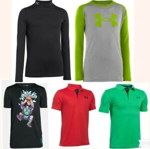 5 lot UNDER ARMOUR shirts cold gear thermal polo golf long short sleeve boys xl
