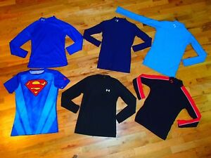 lot UNDER ARMOUR long sleeve cold gear fitted thermal baselayer shirts boys LG