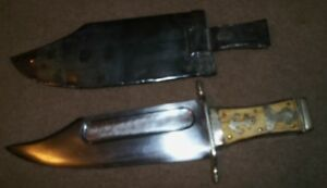 """Vintage Antique 17 34"""" BOWIE KNIFE & SHEATH w ANCHOR and ARROW"""
