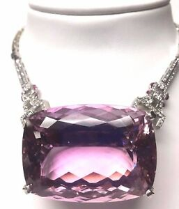 New Huge Custom designer Flawless 284ct Kunzite diamond Platinum necklace Choker