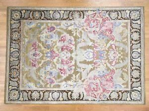 10'x14' Hand Knotted Arts And Crafts Design Silk with Oxidized Wool Rug R38980
