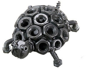 Turtle Hand Crafted Recycled Metal Art Sculpture Figurine $16.95