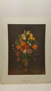 Vintage Lithograph Art Print Ancient Flowers Series No. 2 $15.00