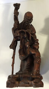 Chinese Old Wood Carving Immortal Statue with Child $275.00