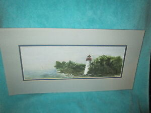 Watercolor Landscape with Lighthouse Signed by Marcia Moses 45 300 Marblehead OH $9.99