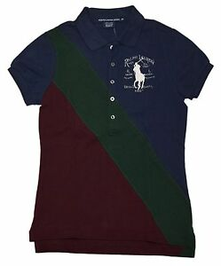 Polo Ralph Lauren Sport Womens Big Pony Pullover Shirt Navy Blue Green Red Small