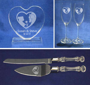 Beauty and the Beast Wedding Glasses knife server cake topper set engraved heart
