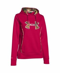 Under Armour Womens Storm Caliber Hoody Red Camo Small Raspberry Pull-over 6217