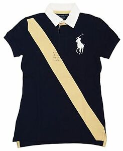 Polo Ralph Lauren Sport Womens Big Pony Pullover Shirt Navy Blue Yellow Small