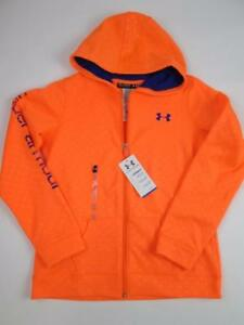 UNDER ARMOUR GIRLS COLD GEAR HYPE ORANGE DOTS HOODIE LS SWEATER YXL 1416 NWT