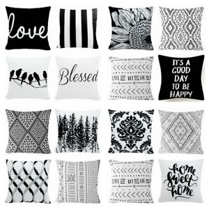Cushion Cover Velvet Black White Soft Pillow Case Double Sided Home Decor 16x16