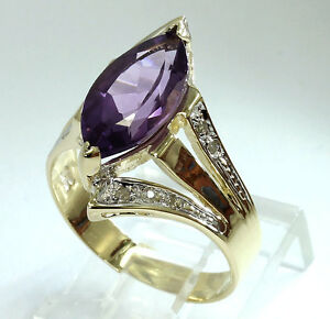 Diamond amethyst ring 14K yellow gold marquise brilliant round 4.7 GM 2.50CT sz8