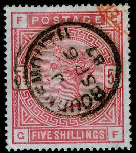 SG176 SCARCE 5s rose FINE used CDS. Cat £4000. BLUED PAPER. LATE USAGE. GF