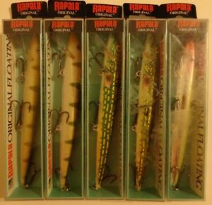 Lot of 5 New Assorted Rapala Original Floating F-18 Fishing Lures YPPKCLN