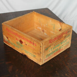 Old Remington Cartridges 22 Long Rifle Ammunition Advertising Wooden Storage Box