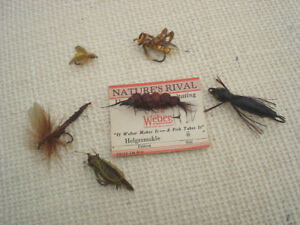 6 Old Weber Nature's Rival Flyrod Fishing Lures  Flies