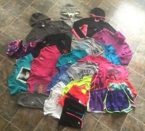 25pc. Nike Under Armour North Face Hoodie Shirt Short Capri Lot Girls sz LXL