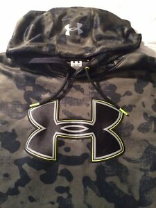 Mens Under Armour UA Storm Hoodie Pullover Sweatshirt Camo XL Loose Fit Green