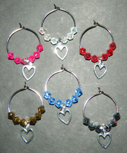 6 Colored Crystal Silver Tiny Valentine Hearts Wine Glass Charms Drink Markers