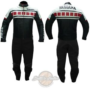 REAL LEATHER BIKER SUIT. Yamaha 6728 Black Motorcycle Jacket Motorbike Trouser