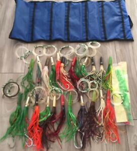 Lot of 24 Green Machine Rigged Trolling Fishing Lures & Made in USA Lure Bag