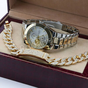 Men 14K White Gold PT Round Bezel Metal Band Watch Iced Out Gold Bracelet F73G
