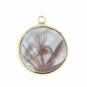Mother of Pearl & Glass Fly Fishing Pendant - 14k Gold Round Cabochon Hook Lure