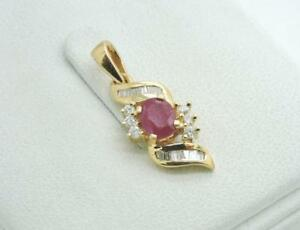14K Yellow GOLD Diamond Ruby Pendant necklace Unique Designer STS High Polished