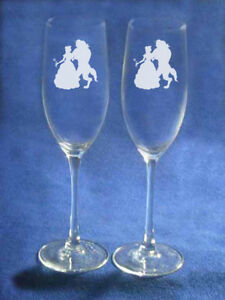 Beauty and the Beast Wedding Glasses Flutes  Personalized   NEW Belle beast